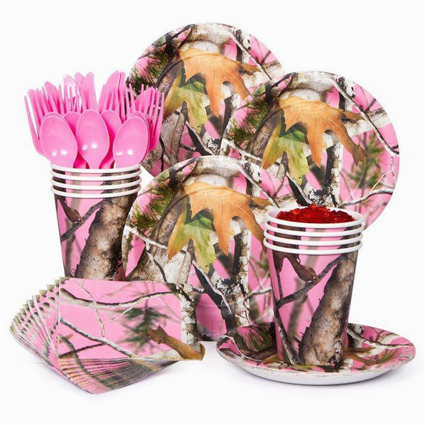 Pink Camo Birthday Party Decorations Pink Camo Party Standard Tableware Kit Serves 8