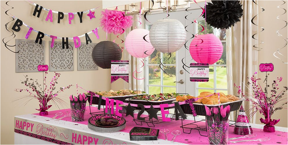 black pink birthday party supplies
