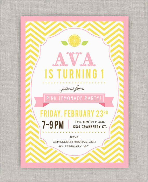 pink lemonade birthday invitation by announcingyou on etsy