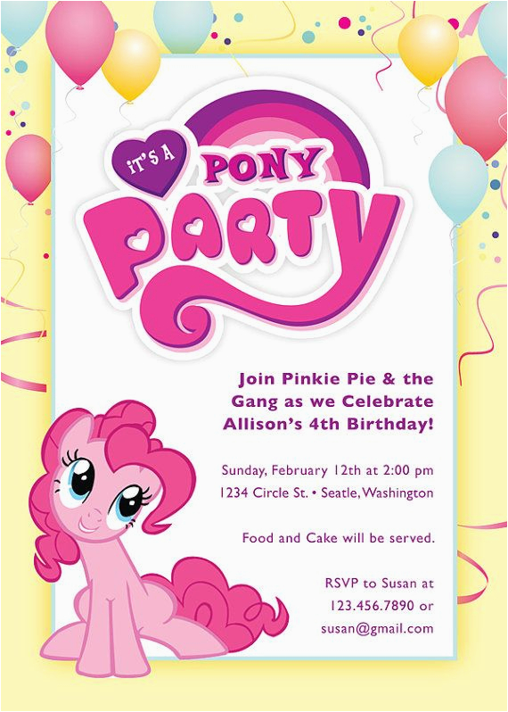 Pinkie Pie Birthday Invitations 1000 Images About Emi 39 S 3rd Birthday On Pinterest