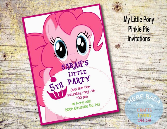 my little pony pinkie pie invitations