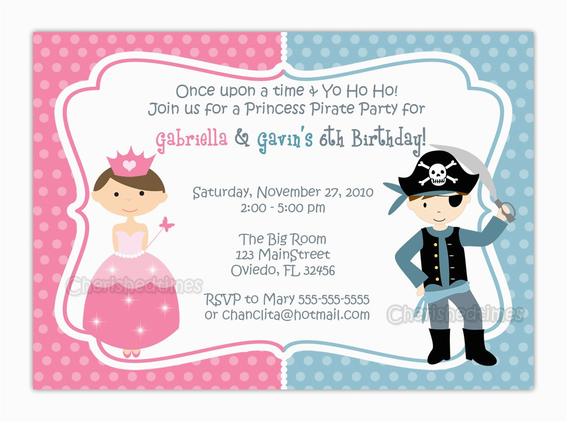 Pirate And Princess Birthday Invitations Free Printable Party