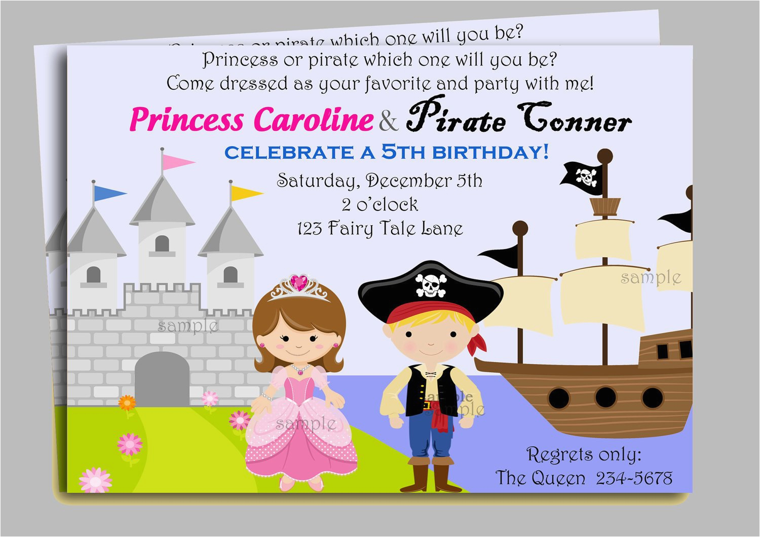 pirate and princess invitation printable or by thatpartychick