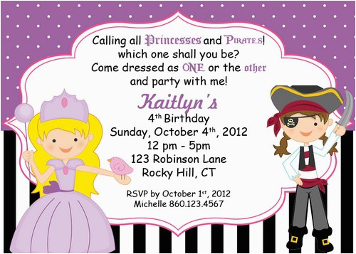 pirate and princess party invitations template best