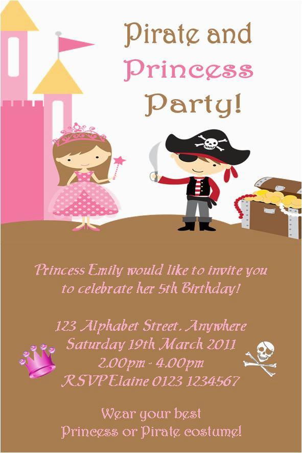 pirate princess party invitation free