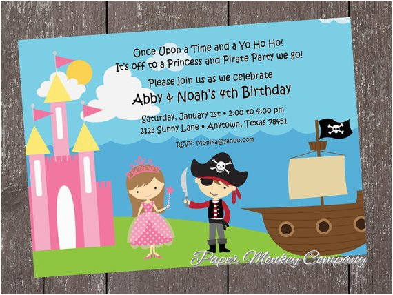 princess and pirate birthday invitation by paper monkey