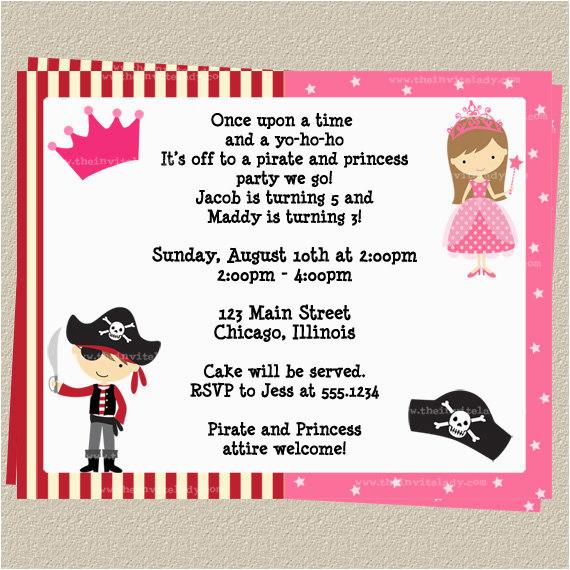princess and pirate birthday party invitations drevio