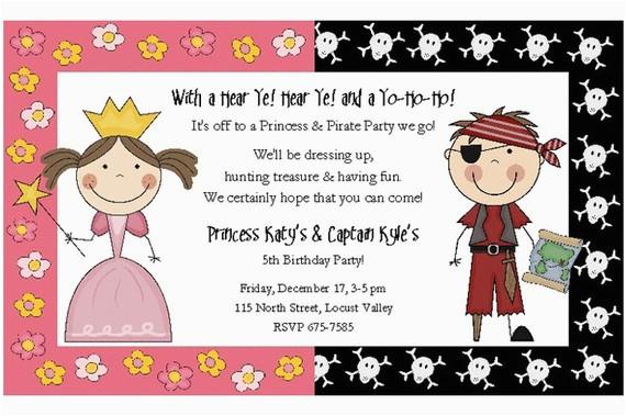 Pirate and Princess Birthday Invitations Princess and Pirate Birthday Party Invitations