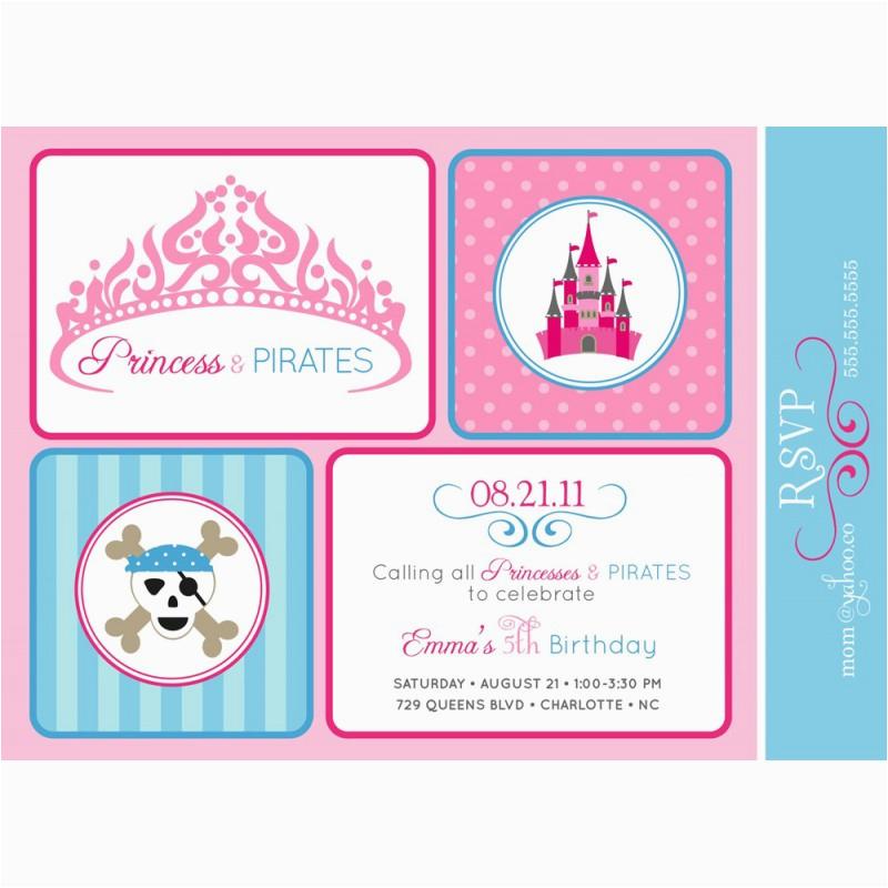 Pirate And Princess Birthday Invitations Princesses Pirates