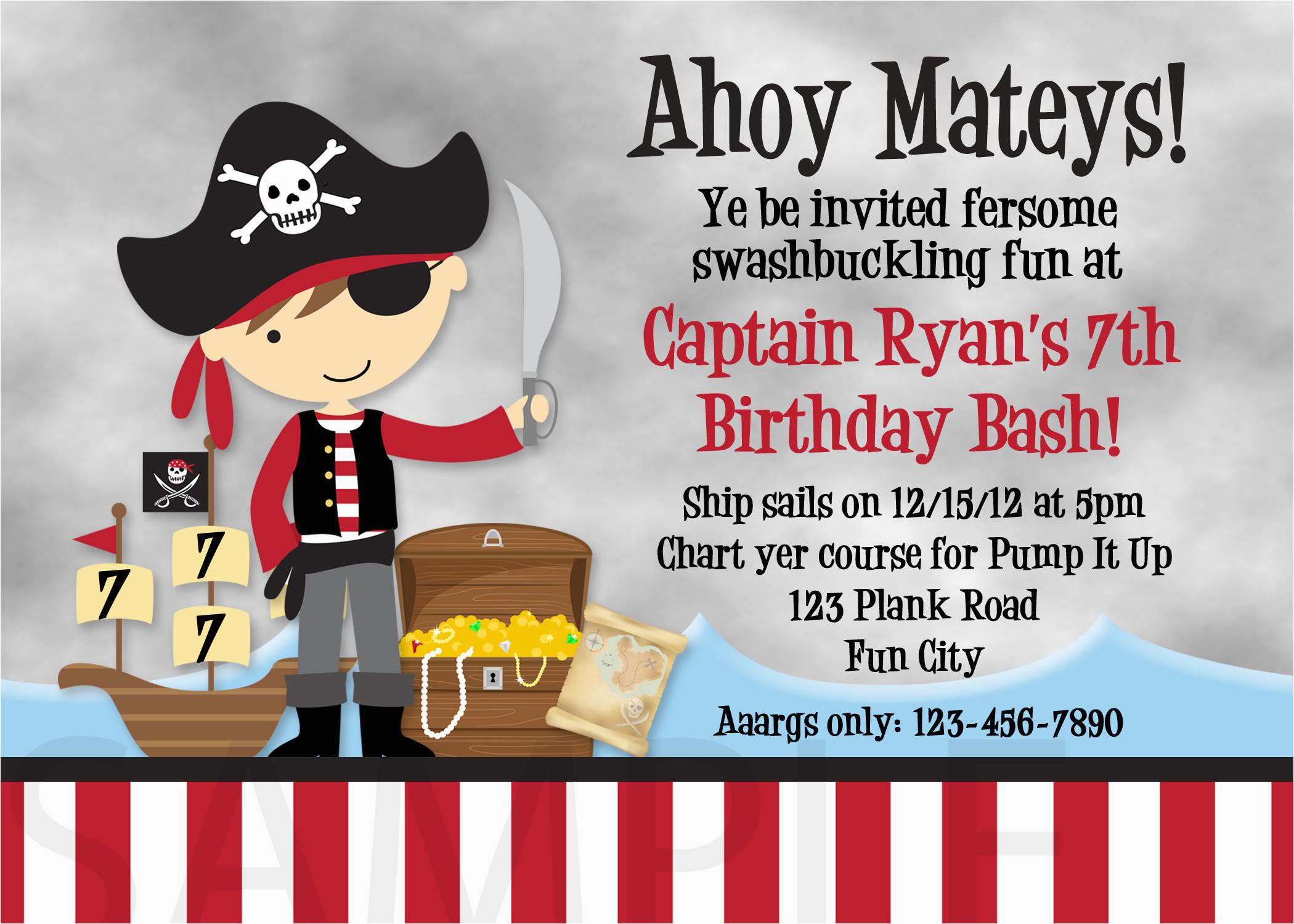 pirate birthday party invitations wording