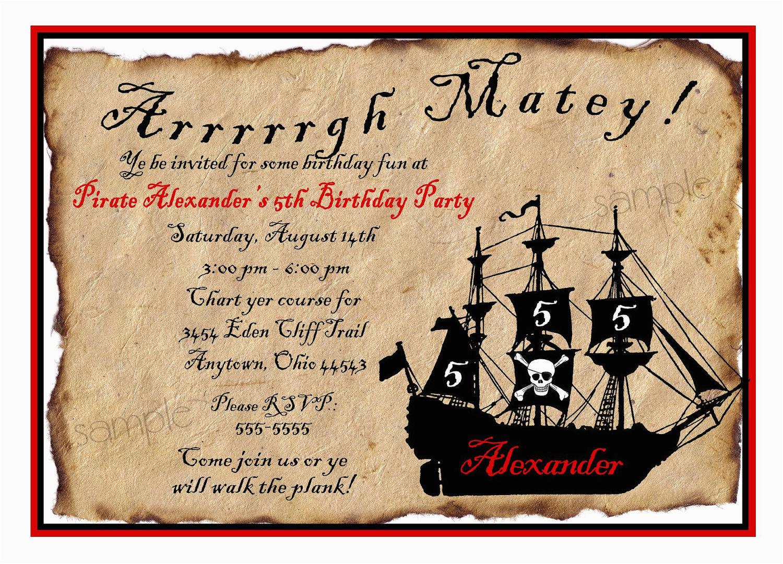 Pirate Birthday Party Invitation Wording