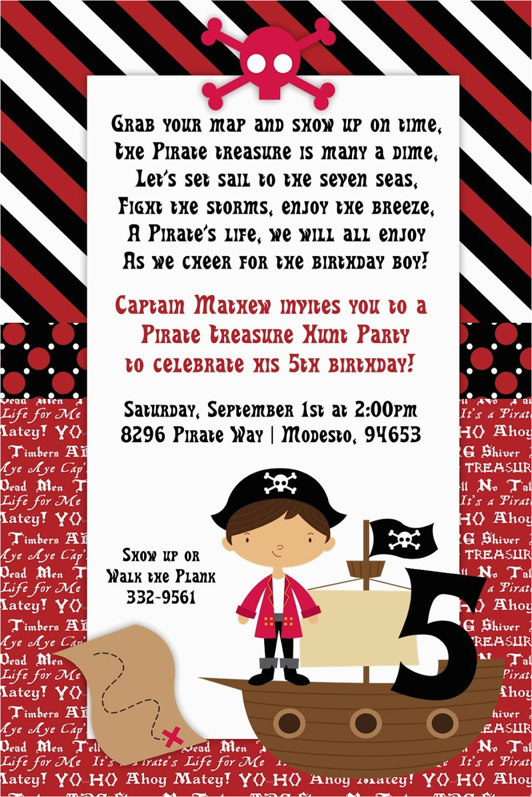 pirate party kid invitation