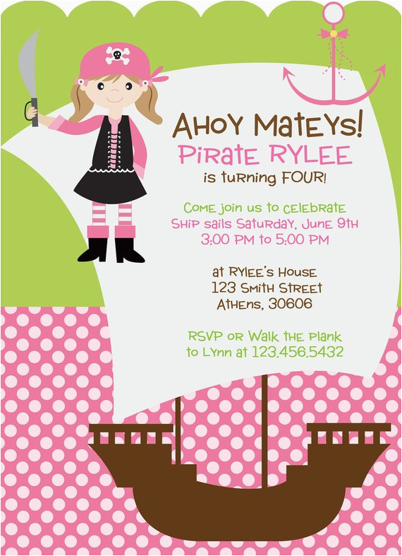 Pirate Themed Birthday Party Invitations Girl Pirate Theme Party