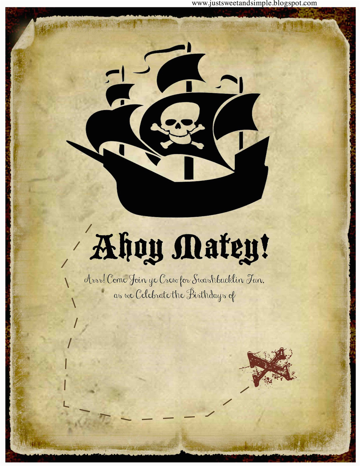 Pirate Themed Birthday Party Invitations Just Sweet And Simple