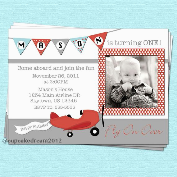 Plane Birthday Invitations Airplane Invitation By Cupcakedream On Etsy