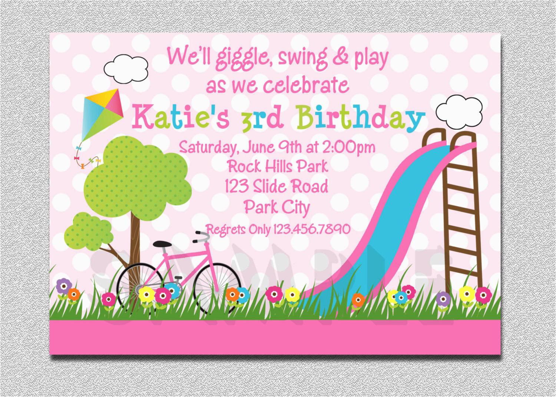 park birthday invitation park birthday