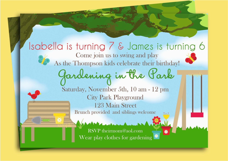 park playground birthday invitation