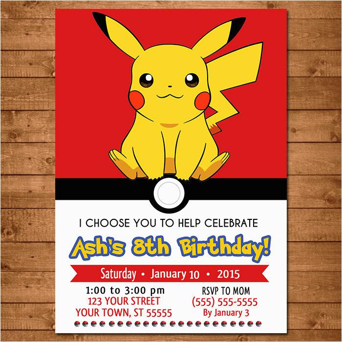 pokemon pikachu invitation pokemon