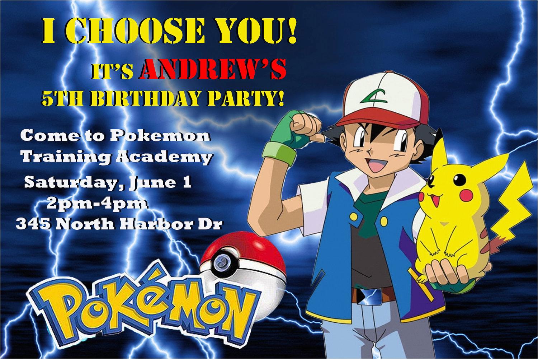 Pokemon Birthday Party Invitation Wording Customized Printable