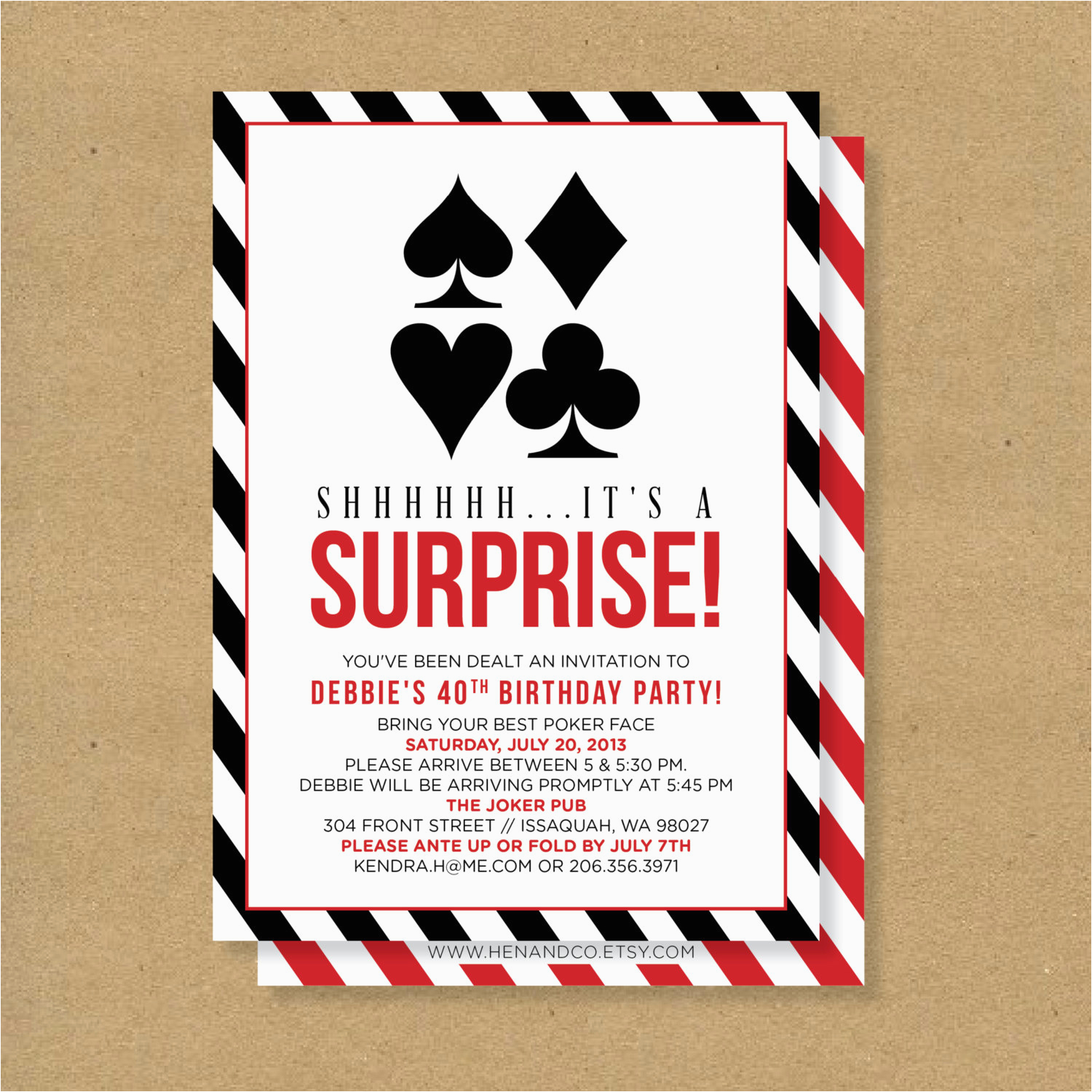 Poker Birthday Party Invitations Theme Surprise Printable Invitation