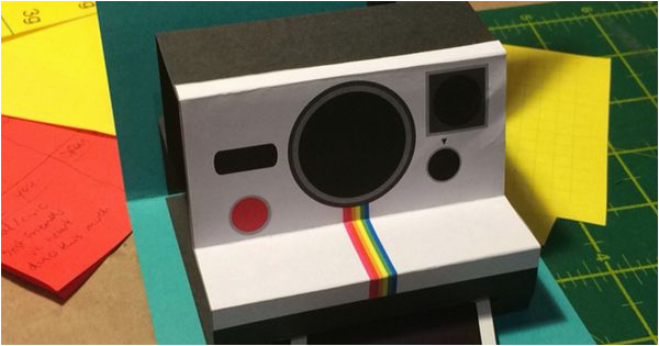 Polaroid Camera Pop Up Birthday Card with Printable Template Polaroid Camera Birthday Card Made From Http Www