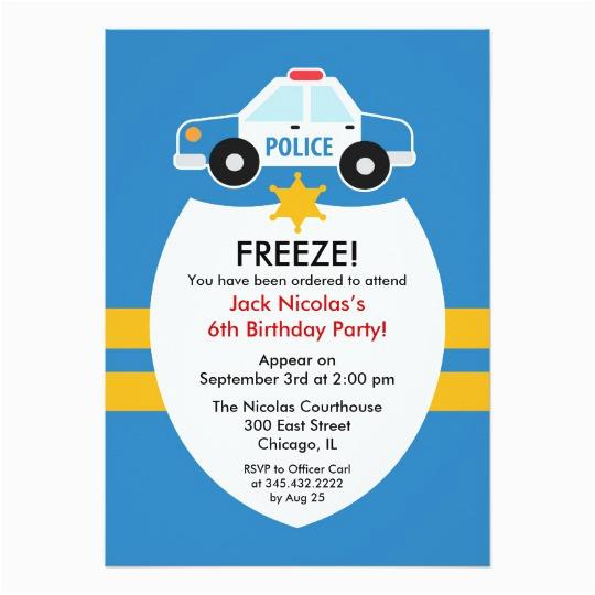 police birthday party invitation zazzle com