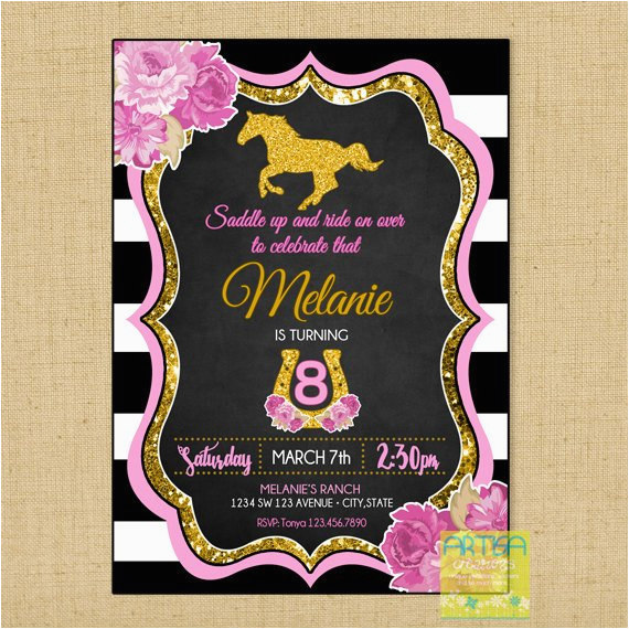horseback riding birthday invitation