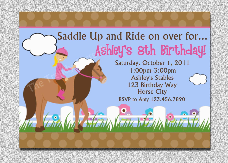 Pony Ride Birthday Invitations Horseback Riding Birthday Invitation Western Horse Birthday