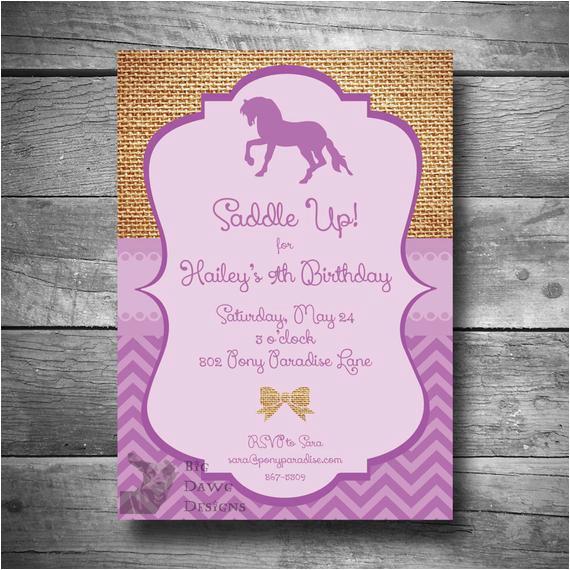 Pony Ride Birthday Invitations Horseback Riding Invitation Pony Party Invitation Diy Horse