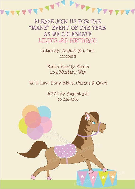 Pony Ride Birthday Invitations Pony Rides Birthday Party Invitation Any Colors