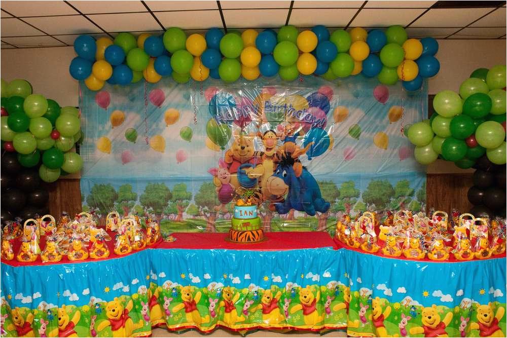 Pooh Bear Birthday Decorations Winnie the Pooh Birthday Party Ideas Photo 11 Of 74