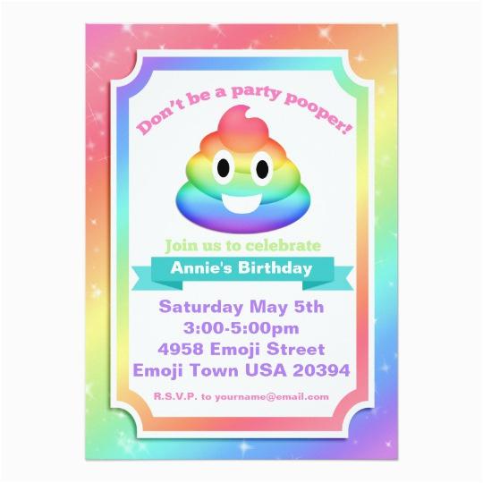 Poop Emoji Birthday Invitations Rainbow Invitation Zazzle Com