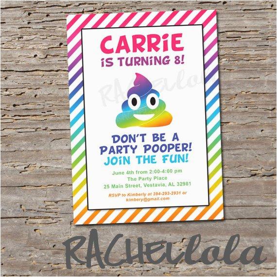 rainbow poop emoji invitation printable digital