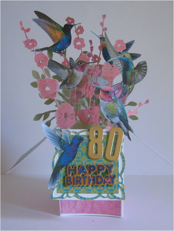 80th birthday pop up card card in a box
