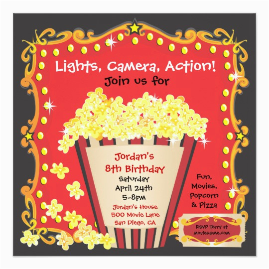 Popcorn Birthday Invitations Popcorn and A Movie Birthday Party Invitation Zazzle Com