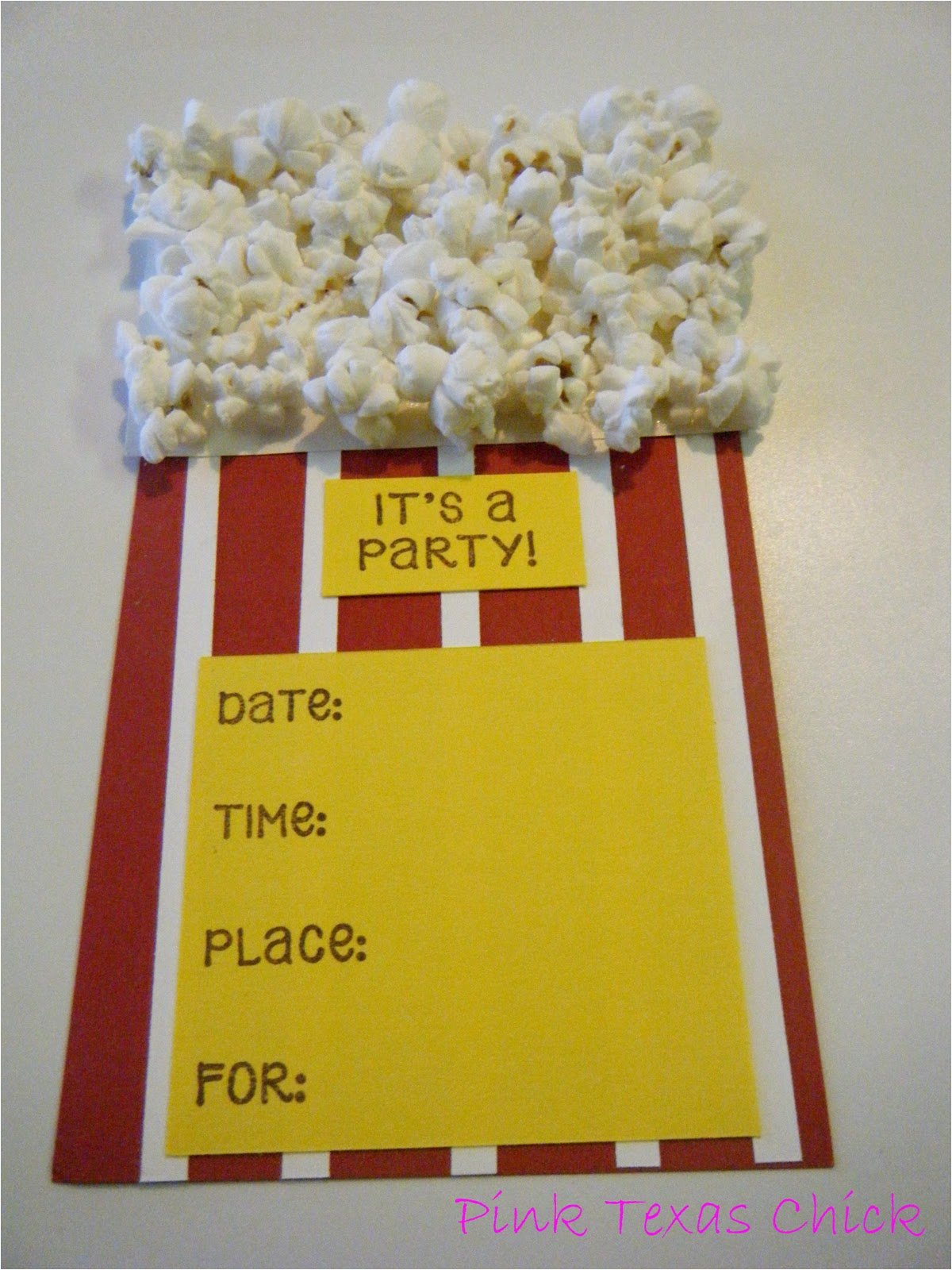 movie popcorn theme party invitations