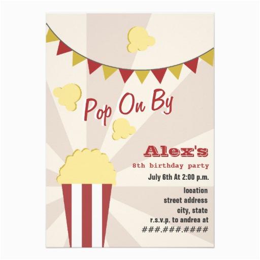 popcorn carnival birthday party invitation 161871438401305074