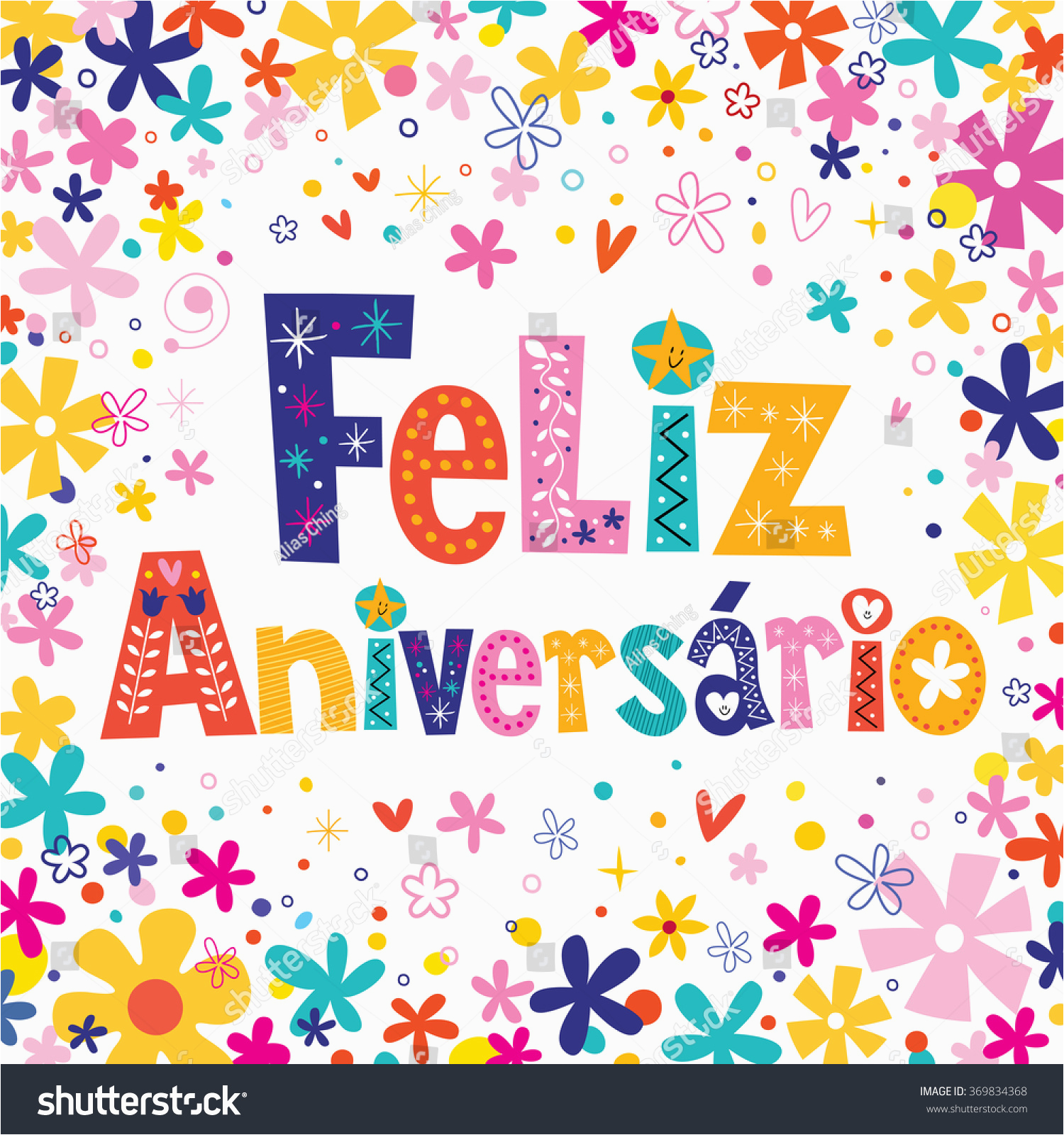 feliz aniversario portuguese happy birthday card 369834368