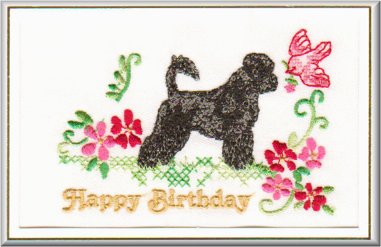 bportuguese water dog birthday card embroidered by dogmania 8 x 6 g6194b 21202 p