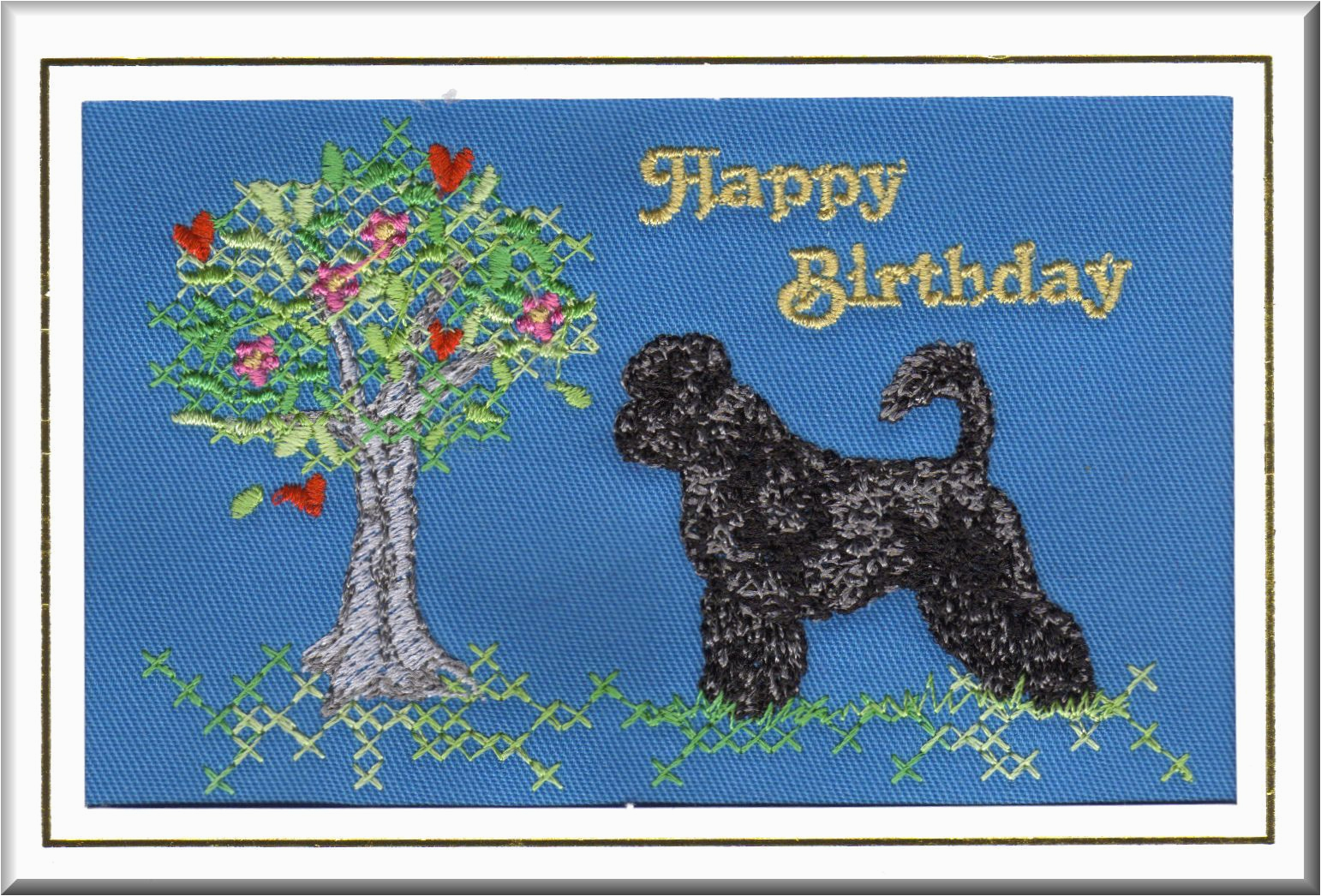 bportuguese water dog birthday card embroidered by dogmania 8 x 6 g3241b 21199 p