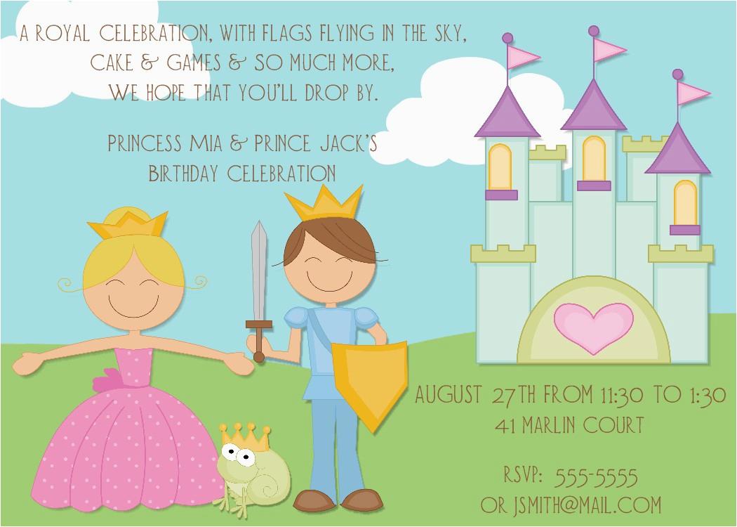 new prince and princess invitations and