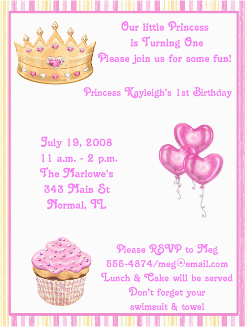 1st pink princess birthday party invitations