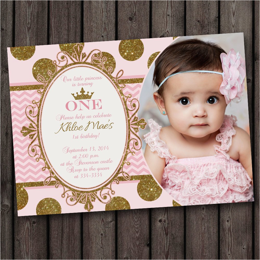first birthday pink and gold invitation