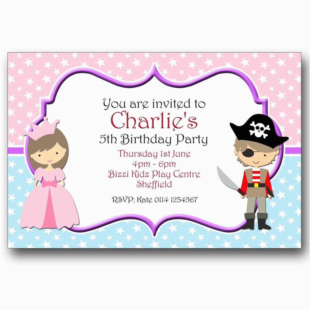 Princess and Pirate Birthday Party Invitations Personalised Birthday Party Invitations Princess and