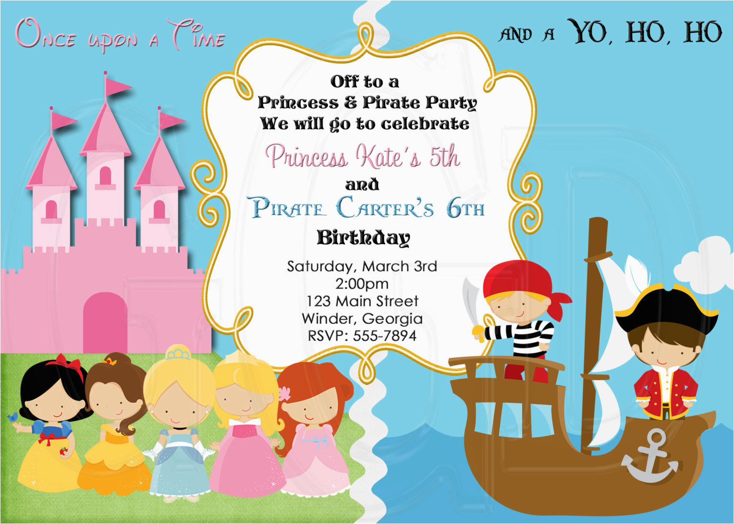 Princess and Pirate Birthday Party Invitations Pirate and Princess Birthday Invitation Digital File