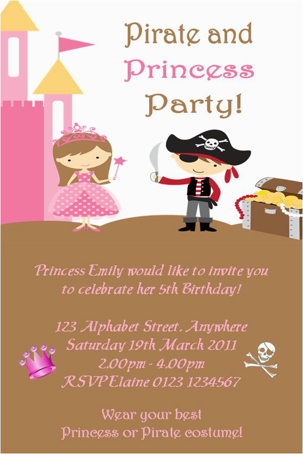 Princess and Pirate Birthday Party Invitations Pirate Princess Party Invitation Free