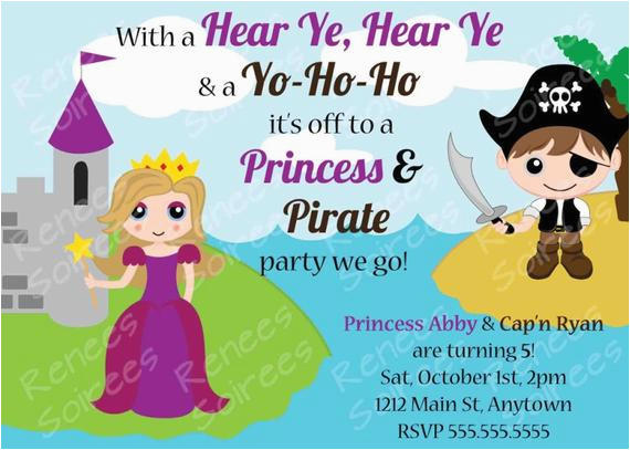 Princess and Pirate Birthday Party Invitations Princess and Pirate Birthday Party Printable Invitation