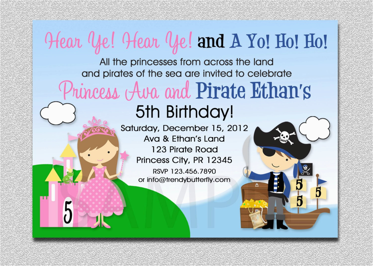 princess pirate birthday invitation