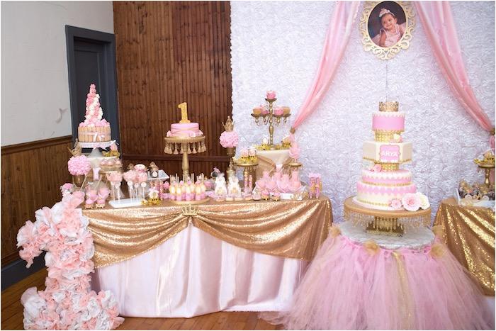 gold pink royal princess birthday party