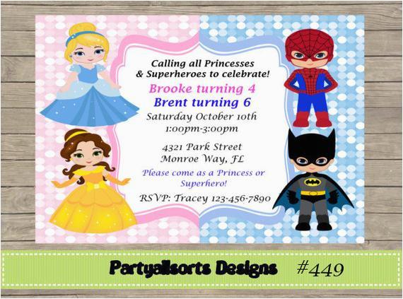 Princess Superhero Birthday Party Invitations Diy And